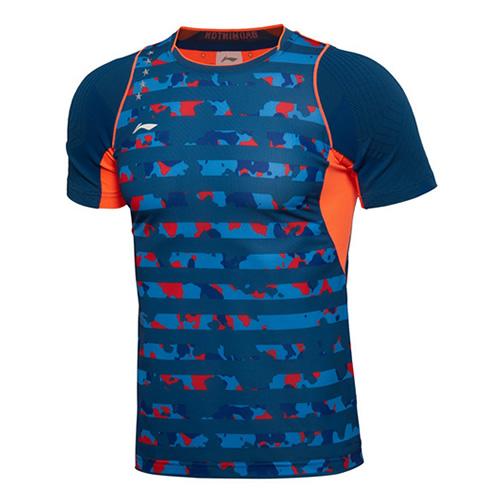 李宁迷彩条纹男子羽毛球比赛上衣图4高清图片
