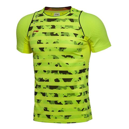 李宁迷彩条纹男子羽毛球比赛上衣图1高清图片