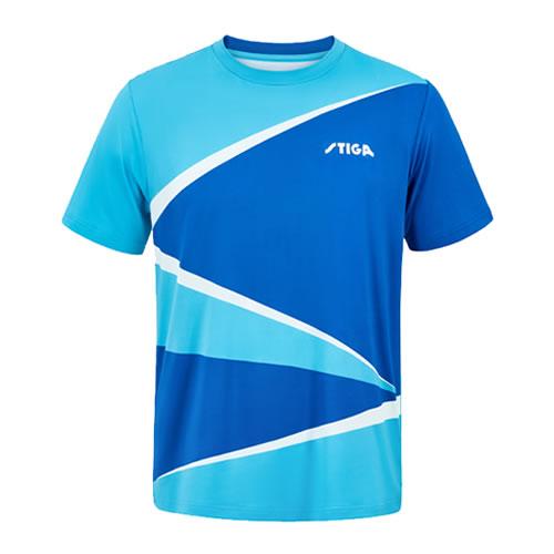 斯蒂卡黄蓝色印花乒乓球比赛服高清图片