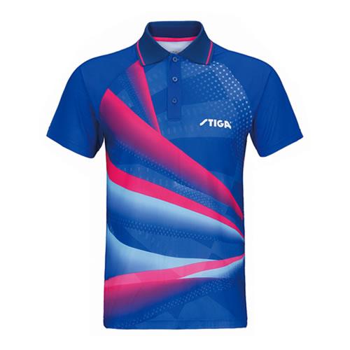 斯蒂卡深蓝色拼接乒乓球比赛服