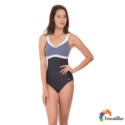 速比涛唯美系列拼色女子连体泳衣图2高清图片