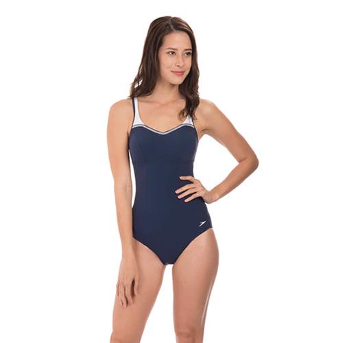 速比涛纤姿系列深蓝优雅女子泳衣图2高清图片