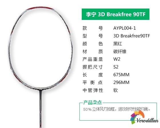 [图文]李宁3D Breakfree 90TF羽毛球拍细节深度解析