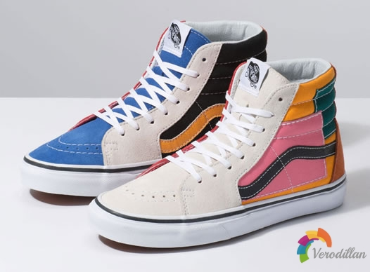 Vans Patchwork Sk8-Hi鞋款,创意DIY色彩拼接