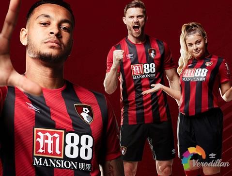 伯恩茅斯2019/20赛季主场球衣,延续红黑色剑条衫形象